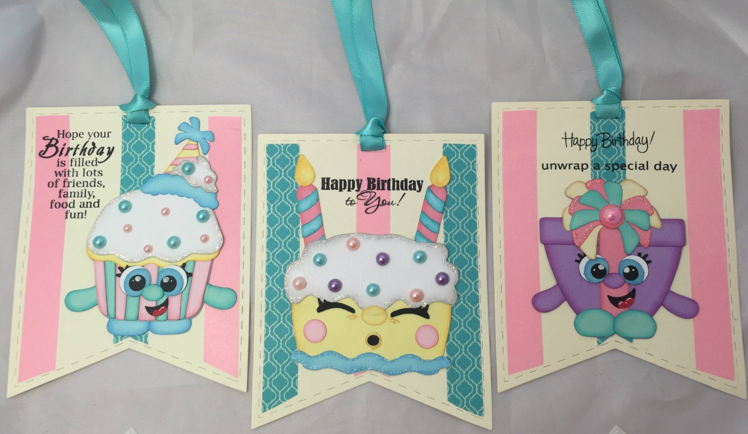 Paper Pieced Die Cut Birthday Gift Tags - Set of 3