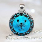 WOMEN'S Vintage Scorpion Cabochon Tibetan silver Glass Chain Pendant Necklace