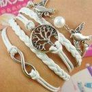 WOMEN'S NEW Silver Style Jewelry fashion Leather Cute Infinity Charm Bracelet-J