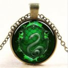WOMEN'S Vintage Snake Cabochon Tibetan Bronze Glass Chain Pendant Necklace NEW-J