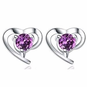 NEW Women's PURPLE CRYSTAL Zirconia Threader Earring FASHION Studs GIFT -O