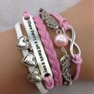 NEW PINK WHITE Infinity Heart Wing Pearl Leather Charm FASHION Bracelet Silver-O