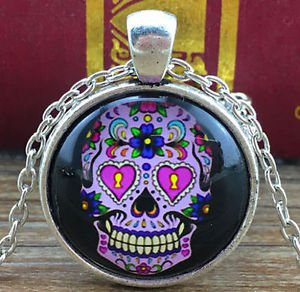 WOMEN'S Vintage Skull Cabochon Tibetan silver Glass Chain Pendant Necklace - N