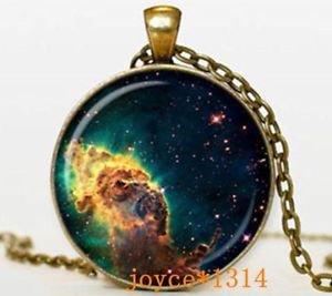 WOMEN'S FASHION Vintage Galaxy Cabochon Bronze Glass Chain Pendant Necklace-D62