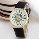 New Vintage Feather Dial Leather Band Quartz Analog Unique Wrist Watches Black-C