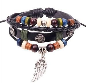 NEW Jewelry fashion Leather lots Beads Style Charm Bracelet Plated Silver GIFT-X