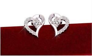 NEW WOMEN'S Luxury silver earrings fashion crystal heart ear stud jewelry gift-P