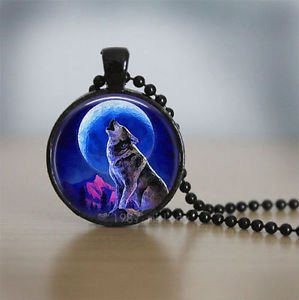 Wolf WOMEN'S Charm Glass Dome Cabochon Black Ball Chain Necklace Pendant-P