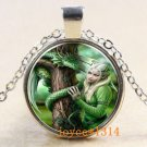 WOMEN'S Vintage dragon Cabochon Tibetan silver Glass Chain Pendant Necklace-J
