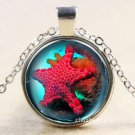 WOMEN'S Vintage Starfish Cabochon Tibetan silver Glass Chain Pendant Necklace-J