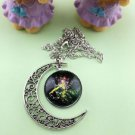Stylish Women Constellation Crescent Moon Glass Cabochon Pendant Necklace NEW-X