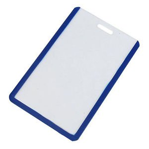 Plastic Vertical Business ID Badge Card Holder Blue Clear - B