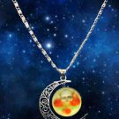 WOMEN'S Stylish HOT Galaxy Universe Crescent Moon Round Pendant Necklace GIFT -L