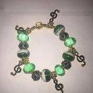 GREEN European Murano Glass Bead Charm Bracelet Crystal Women Jewelry-17 CM - G