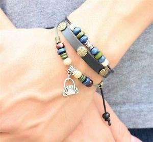 NEW Jewelry Fashion Infinity Leather Charm Bracelet Silver lots Beads Style-ii17