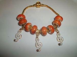 ORANGE AND GOLD European Murano Bead Charm Bracelet Women Jewelry-21CM - C