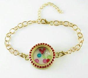 WOMEN'S HOT Golden Magnet Photo Memory Living Charm Floating Locket Bracelet - M