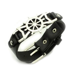 NEW COSPLAY SHIP'S RUDDER THEME fashion Leather BANGLE Charm Bracelet JEWERLY-O