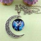 Stylish Women Constellation Crescent Moon Glass Cabochon Pendant Necklace NEW-U