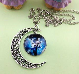 Stylish Women Constellation Crescent Moon Glass Cabochon Pendant Necklace NEW-U