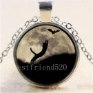 WOMEN'S Cat Bat Moon Cabochon Photo Glass Tibet Silver Chain Pendant Necklace-J