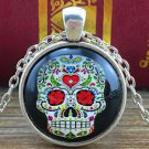 FASHION Vintage Skull Cabochon Tibetan silver Glass Chain Pendant Necklace -L