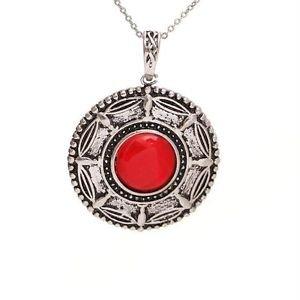 WINSOME Retro Silver Red Corundum Necklace Pendant-R