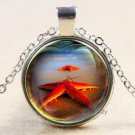 Vintage red Starfish Cabochon Tibetan silver Glass Chain Pendant Necklace-J