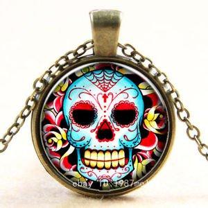 FASHION Vintage new skull Cabochon Photo Bronze Glass Chain Pendant Necklace -U