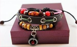 RED CIRCLE NEW Fashion Infinity Leather Charm Bracelet Silver lots Beads Style-V