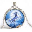 White Unicorns Cabochon Tibetan silver Glass Chain Pendant Necklace-E