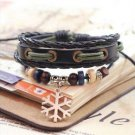 SNOWFLAKE Jewelry Fashion Infinity Leather Charm Bracelet Silver Beads Style-H