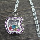 SILVER WING Living Floating Charm Memory Purple-crystal Locket Necklace - M