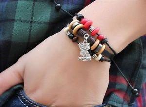 OWL Jewelry Fashion Infinity Leather Charm Bracelet Silver lots Beads Style-W