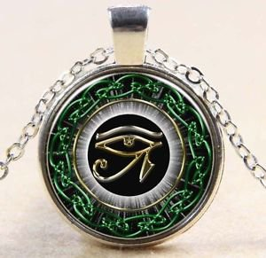 Egyptian Eye of Horus Ra Udjat Glass Art Pendant Chain Amulet Pagan Necklace-O
