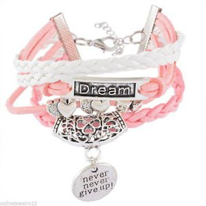 1PC HOT Hollow Tree Dream Heart never give up Multilayer Leather Bracelets-i18