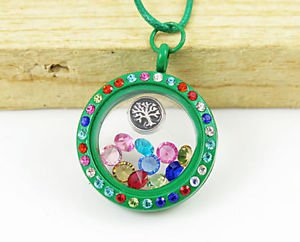 TREE OF LIFE GREEN LOCKET NEW FASHION Living Floating Charm Memory Necklace-O