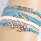 Women's FRIENDSHIP DOVES Infinity Leather Cute Anchor love Bracelets Gifts-Q