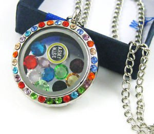 ARMY Living Floating Charm Memory multicolor crystal round Locket Necklace-Q