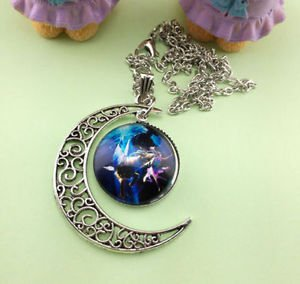 Stylish Women Constellation Crescent Moon Glass Cabochon Pendant Necklace - R