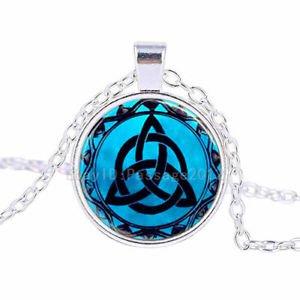 Vintage Special pattern Cabochon Tibetan Silver Glass Chain Pendant Necklace-J