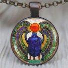 Vintage Cabochon Bronze Glass Chain Pendant Necklace-V
