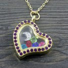SILVER MOON Living Memory Floating Charm Purple-crystal Locket Necklace GIFT -G