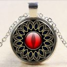 NEW style Vintage Round Dome Glass of many leaf and red heart Silver Necklace -P