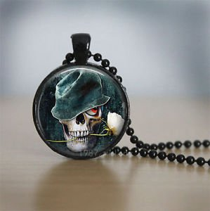 FASHION Skull Rose Charm Glass Dome Cabochon Black Ball Chain Necklace Pendant-O