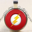 FLASH Lightning heroes Cabochon Tibetan silver Glass Chain Pendant Necklace-G