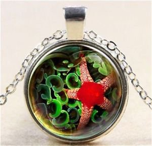 Vintage Red starfish Cabochon Tibetan silver Glass Chain Pendant Necklace GIFT-J