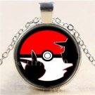 ANIME COSPLAY PIKACHU Pokemon Pokeball Cabochon Glass Chain Pendant Necklace-O