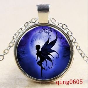 NEW Vintage Cabochon Tibetan silver Glass Chain Pendant Necklace night elves-ii