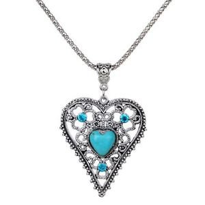 Women Love Heart Turquoise Pendant Design Tibetan Silver Chain Necklace JewelryW